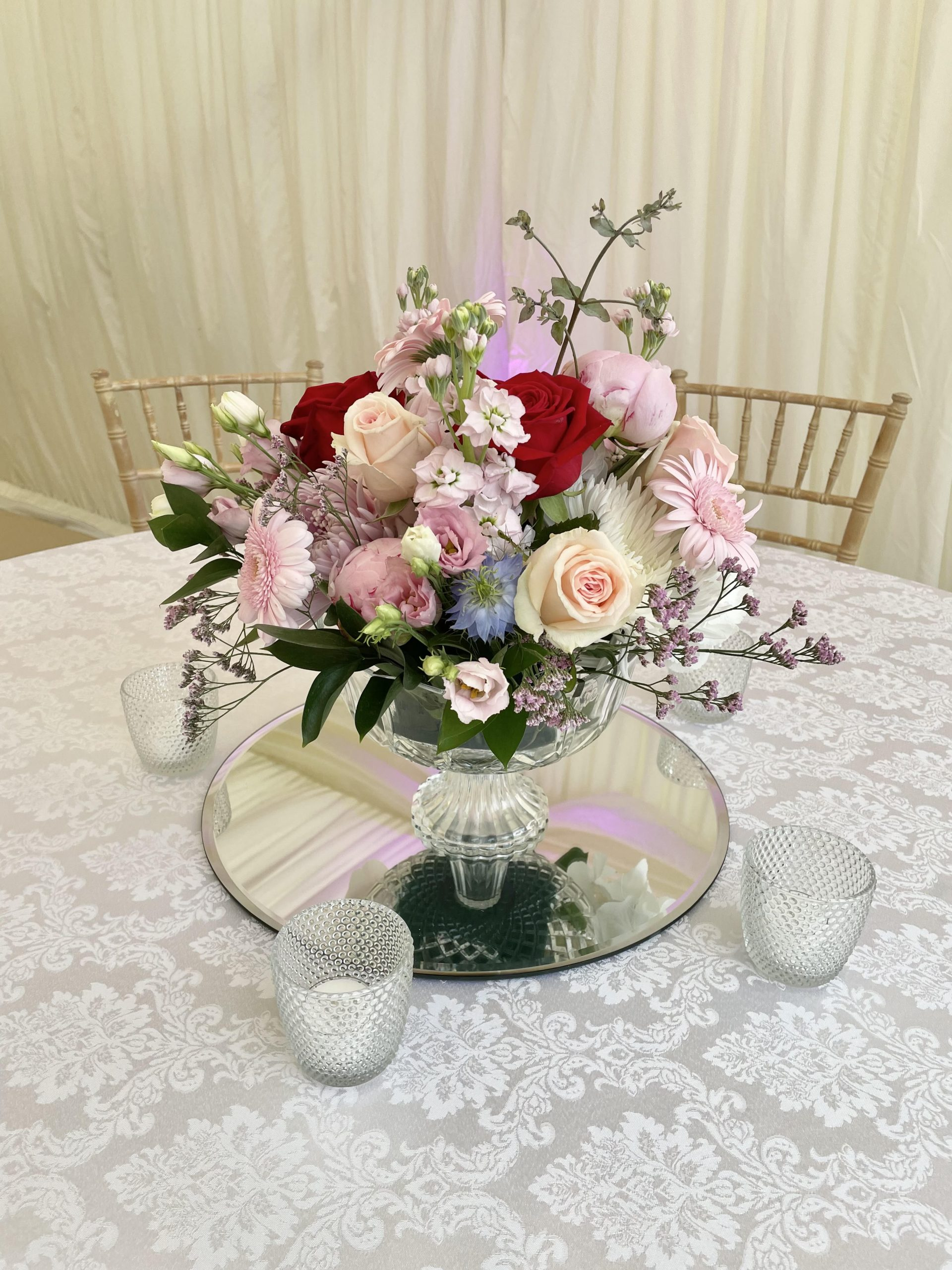 Footed Glass vase bowl
